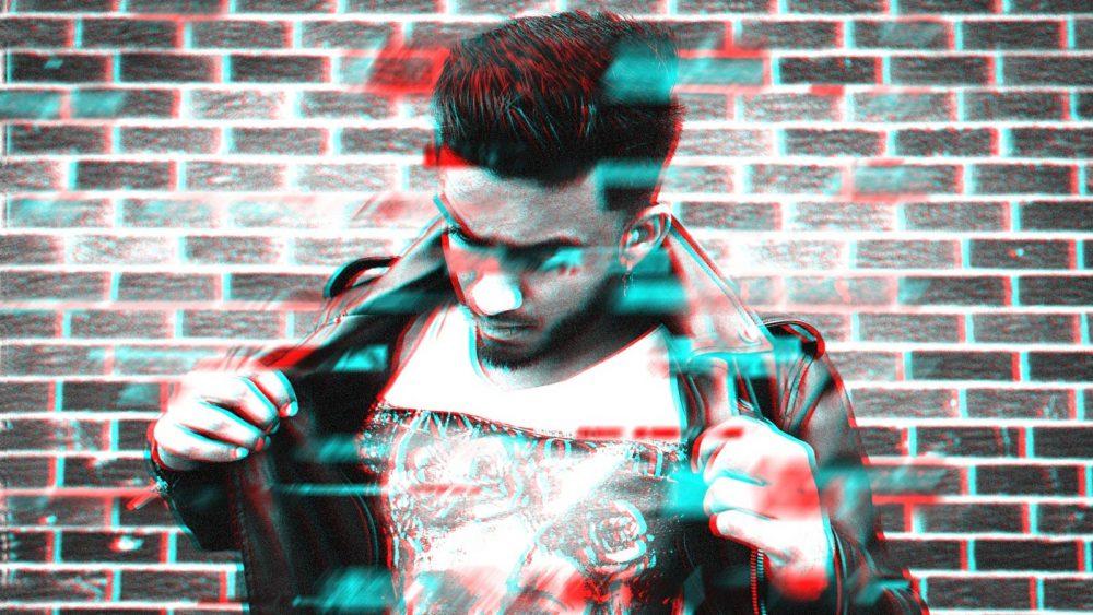 Junger Mann wird durch Glitch-Effekt mit Photoshop unscharf gemacht