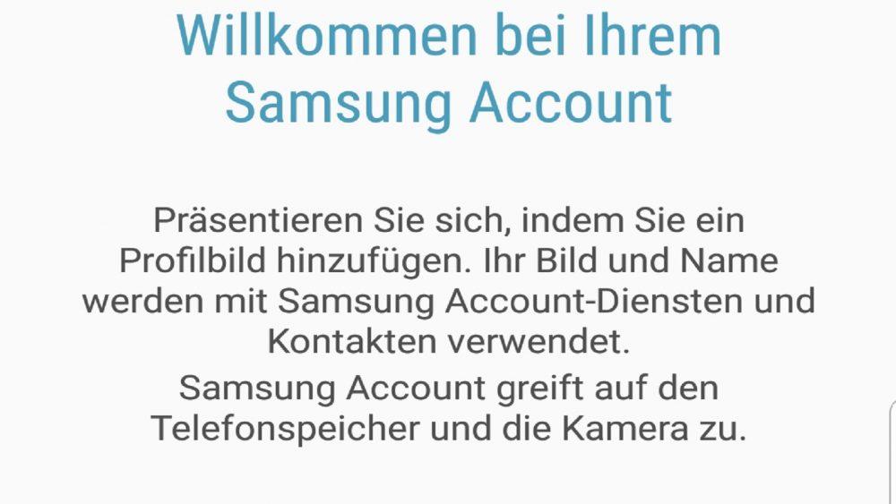 Samsung-Konto erstellen: Willkommensnachricht Screenshot