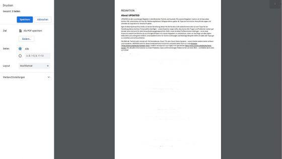 Webseite in PDF umwandeln bei Chrome