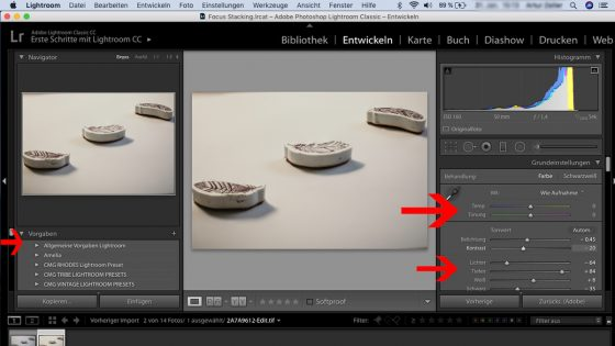 Focus Stacking: Lightroom - Bildbearbeitung