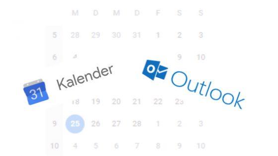 Logos Google-Kalender und Microsoft Outlook synchronisiert vor Kalenderblatt