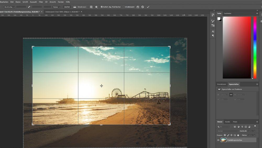 Bild mit Freistellungswerkzeug bei Photoshop zuschneiden
