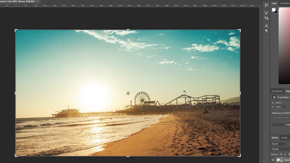 Foto mit Freistellungswerkzeug in Photoshop begradigen