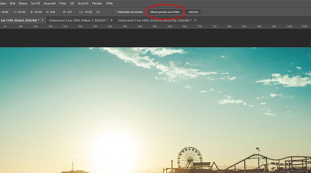 Foto mit Linealwerkzeug bei Photoshop gerade ausrichten