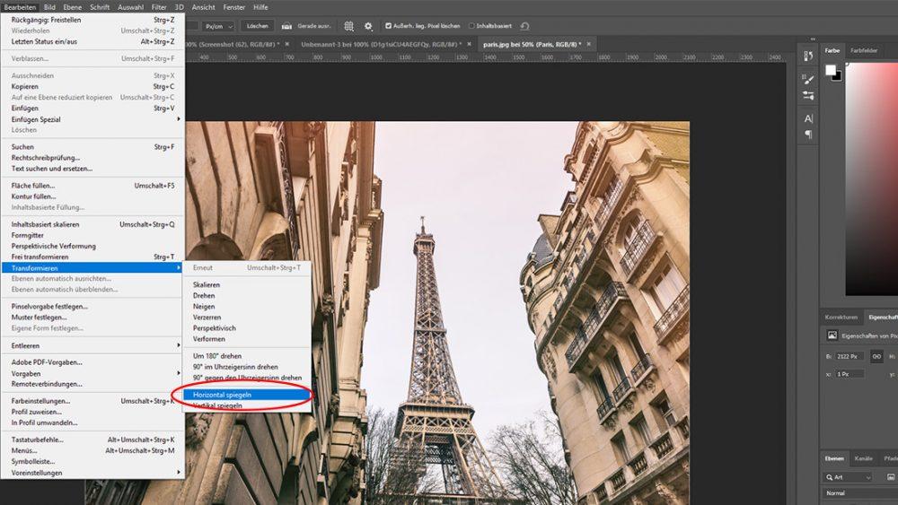 Bild von Eiffelturm mit Photoshop spiegeln