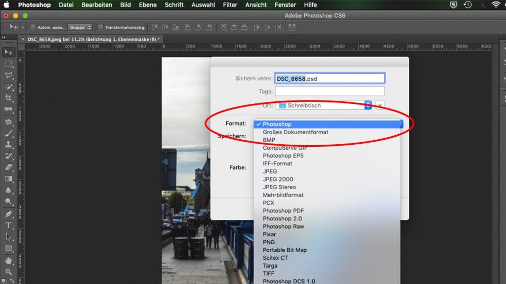 Foto in Photoshop korrekt abspeichern und Dateiformat auswählen