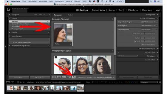 Lightroom Gesichtserkennung: Auswahl überprüfen