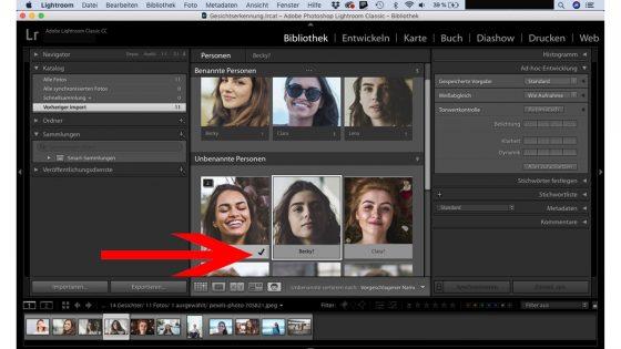 Lightroom Gesichtserkennung bestätigen