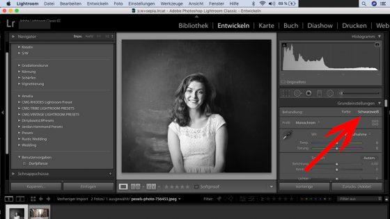 Lightroom: Schwarz-Weiß-Einstellung