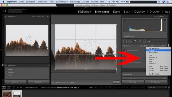 Lightroom Workflow: Zuschnitt Größenverhältnis