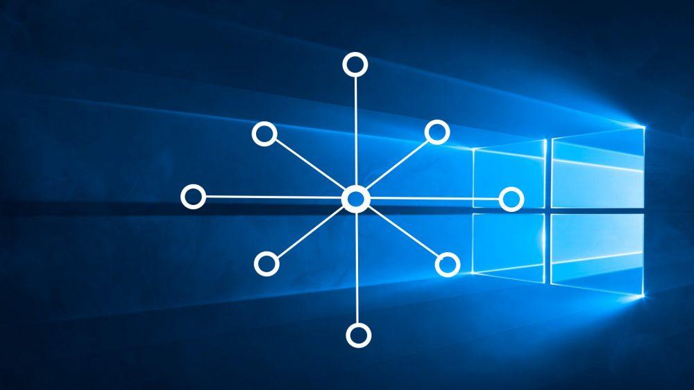 Windows 10 Netzwerktyp ändern Symbolbild: Netzwerk-Grafik vor Windows-Benutzeroberfläche