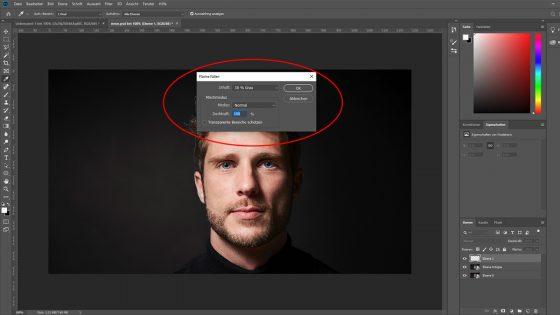 Photoshop Neonfarben: Neue Ebene grau füllen