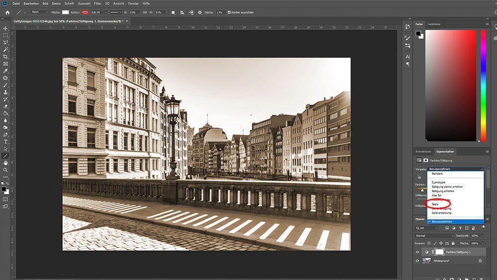 Sepia-Effekt mit Photoshop per Sättigung und Farbton erzeugen