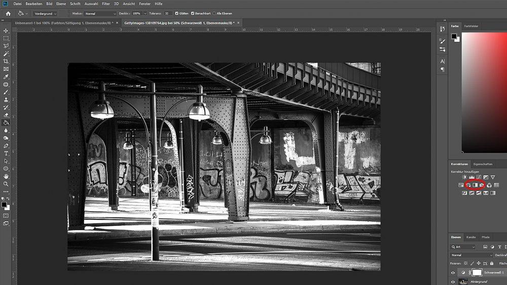 Bild schwarzweiß machen, um Sepia-Effekt in Photoshop zu erzeugen