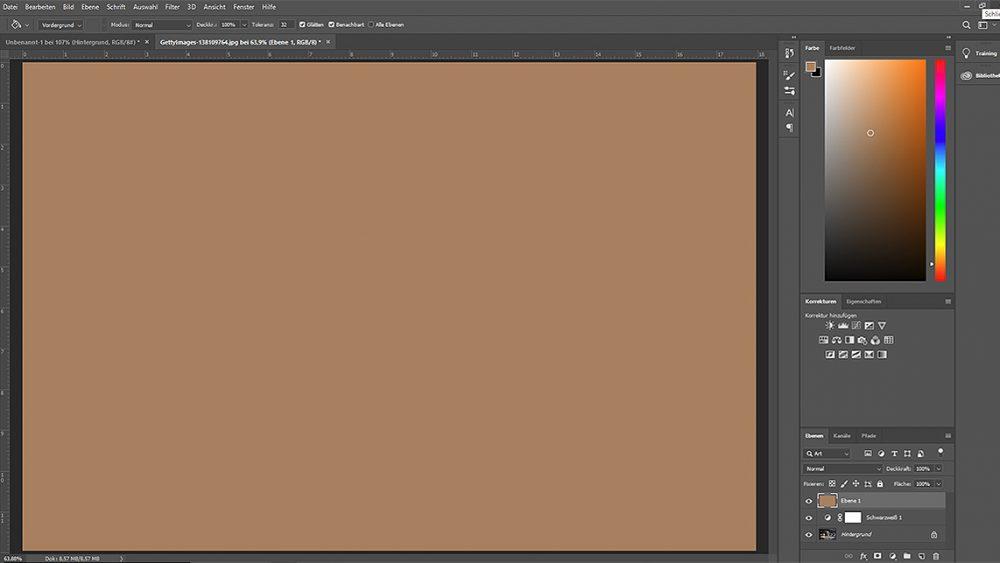 Fläche braun färben, um Sepia-Effekt bei Photoshop zu erzeugen