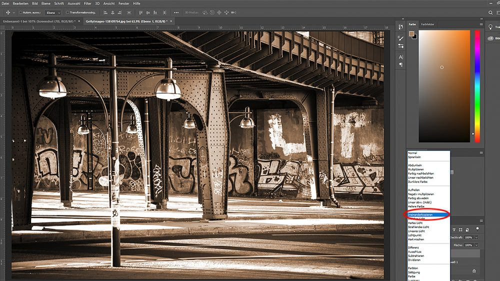 Flächen ineinanderkopieren, um Sepia-Effekt bei Photoshop zu erzeugen