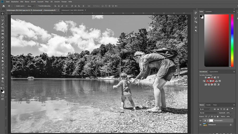 Foto per Filter schwarzweiß machen, um Sepia-Effekt zu erzeugen
