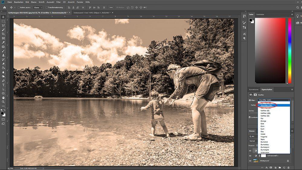 Sepia-Effekt per Fotofilter in Photoshop erzeugen