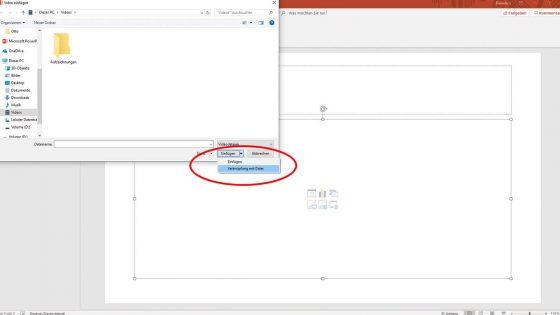 Videos lassen sich auch als Link vom PC in deiner PowerPoint-Präsentation einfügen.