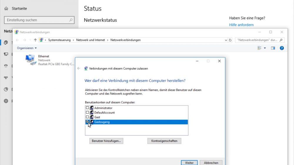 Windows 10 als VPN-Server einrichten Screenshot
