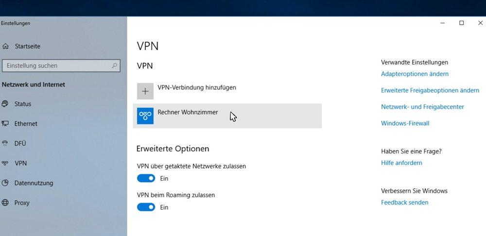 VPN-Verbindung hinzugefuegt