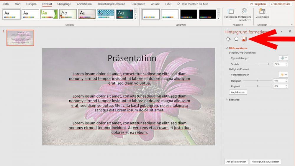 PowerPoint Wasserzeichen Bildkorrekturen vornehmen