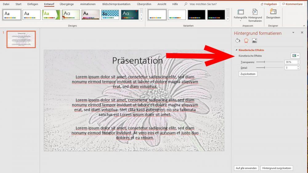 PowerPoint Wasserzeichen Künstlerische Effekte bei Bildern einfügen