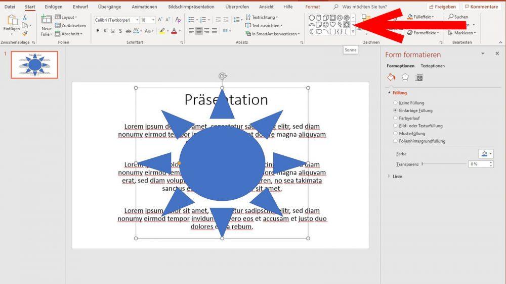 PowerPoint Wasserzeichen Sonne als Grafik einfügen