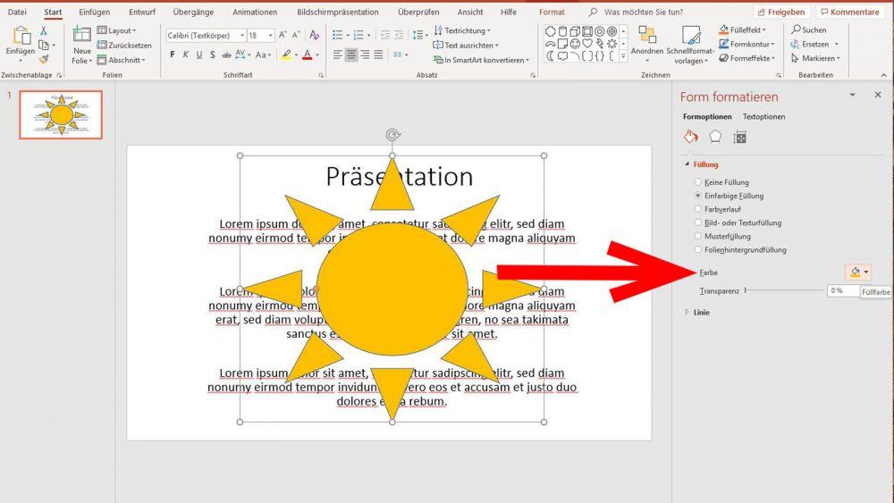 PowerPoint Wasserzeichen Farbe der Grafik bearbeiten