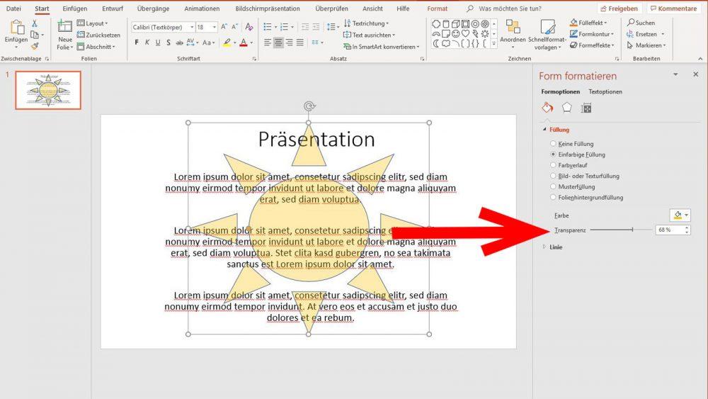 PowerPoint Wasserzeichen einfügen Grafik transparenter werden lassen