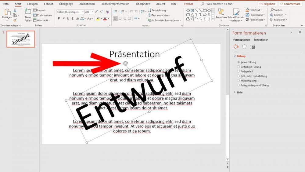 PowerPoint Wasserzeichen Schrift drehen