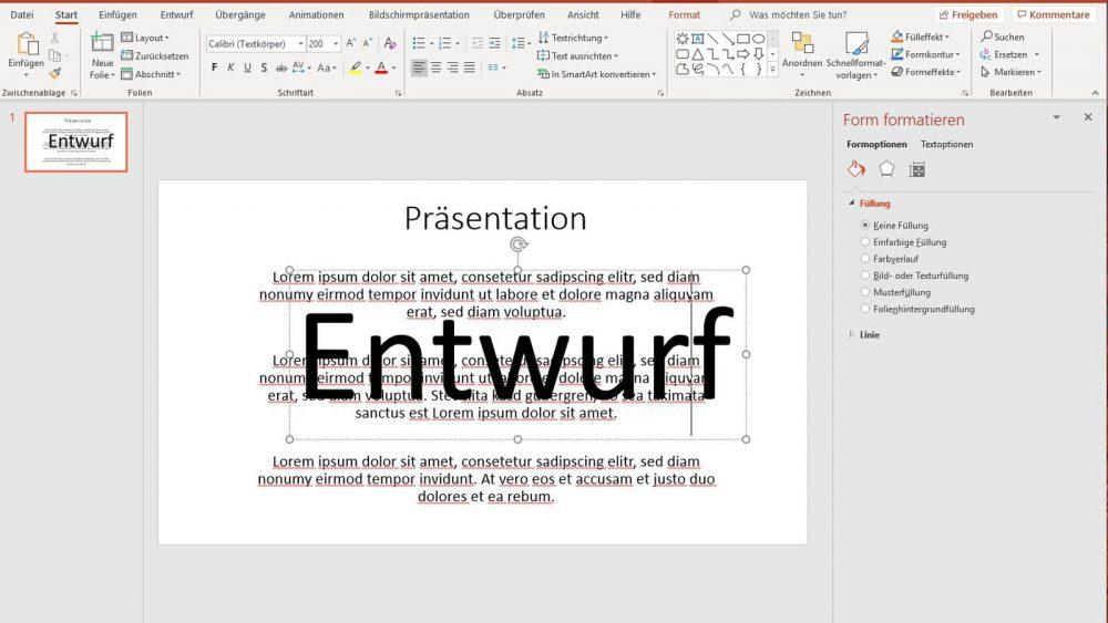 PowerPoint Text Entwurf als Wasserzeichen verwenden