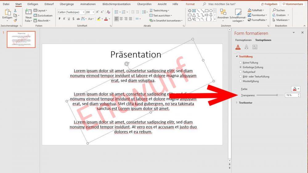 PowerPoint Wasserzeichen Text einfärben und transparent werden lassen