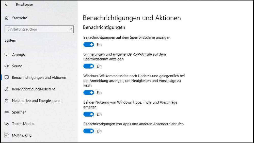 Allgemeine Benachrichtigung deaktivieren unter Windows 10