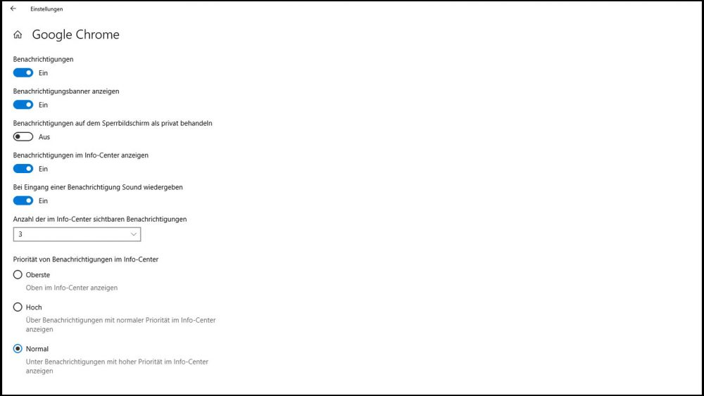 Benachrichtigungen für einzelne Apps deaktivieren unter Windows 10