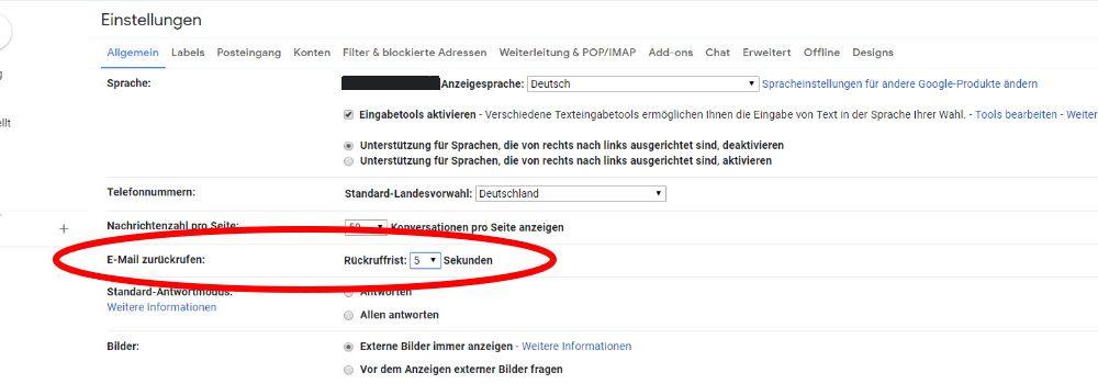 Screenshot Gmail Rückruffrist einrichten