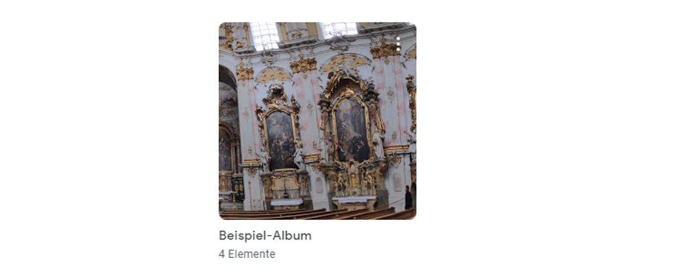 Google-Fotos-Fenster Alben-Übersicht neues Album