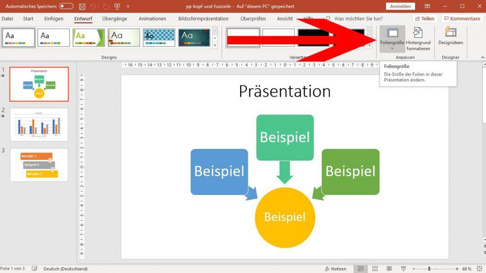 PowerPoint: Auf Foliengröße klicken, um Format zu ändern