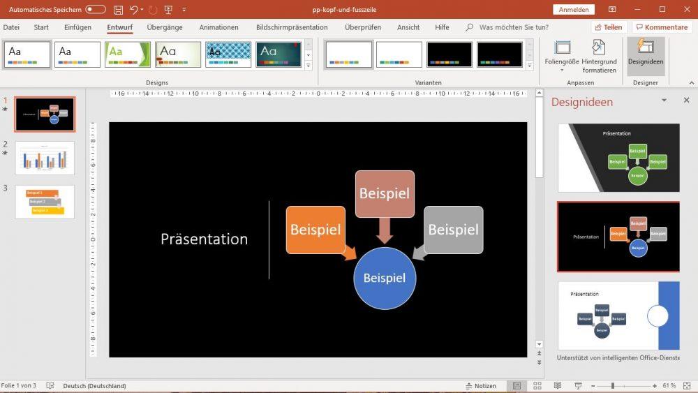 PowerPoint: Designidee mit schwarzem Hintergrund