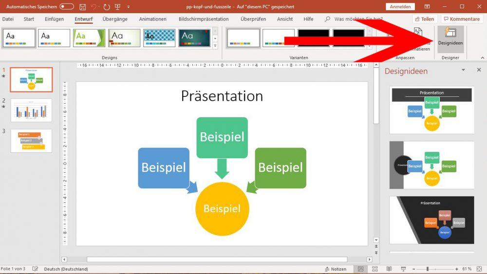 PowerPoint: Designideen für Folien aufrufen