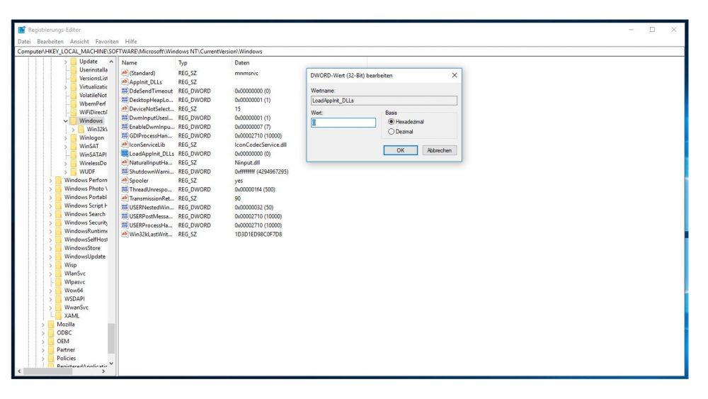 Fenster DWORT-Wert (32-Bit) bearbeiten darunter der Registrierungs-Edito