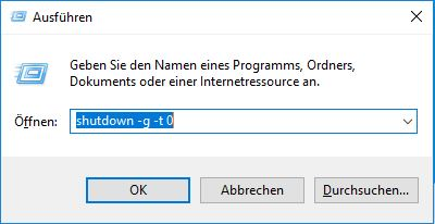Ausführen-Fenster mit shutdown-Befehl