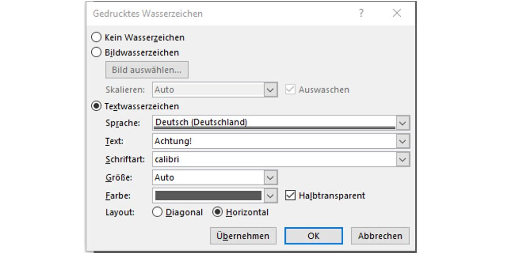 Word 2013 wasserzeichen entwurf
