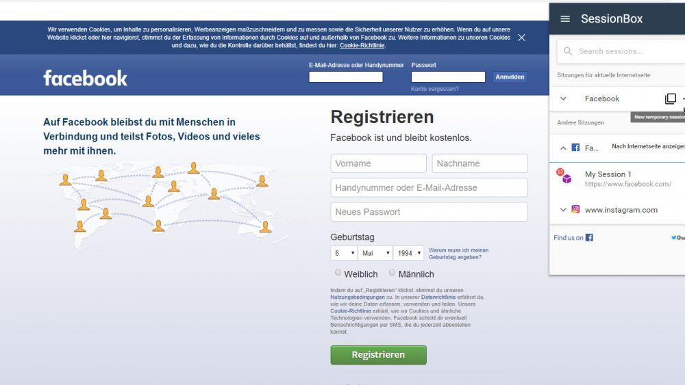 Screenshot SessionBox