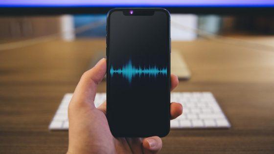 Aufnahme iPhone-Telefonat, symbolisiert durch iPhone X mit oszillierenden Schallwellen auf dem Display