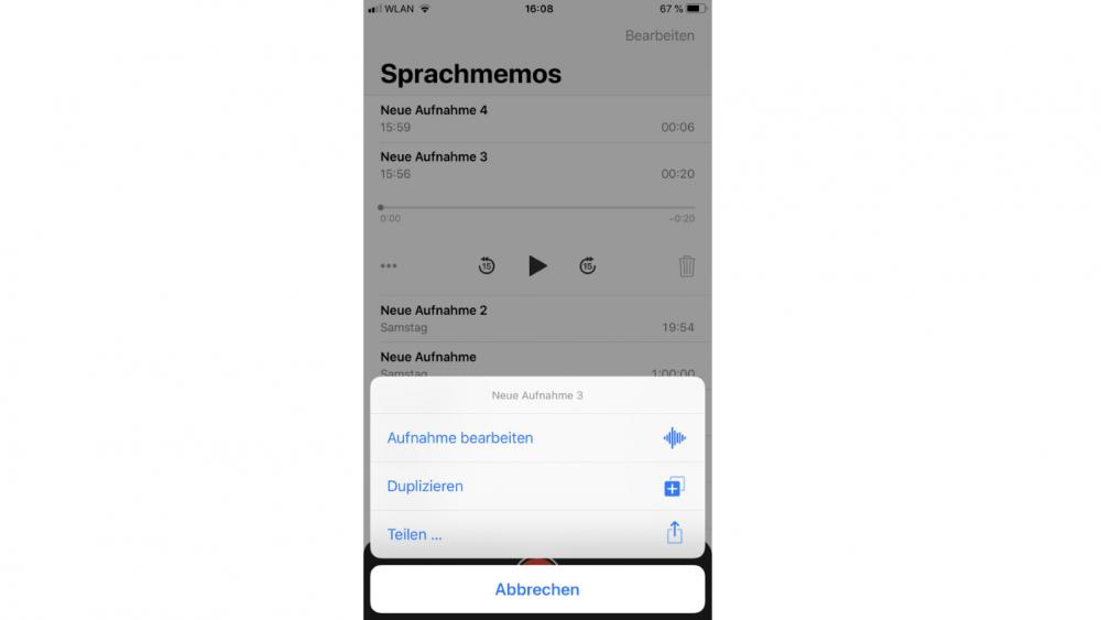 Sprachmemos-Aufnahme teilen iPhone