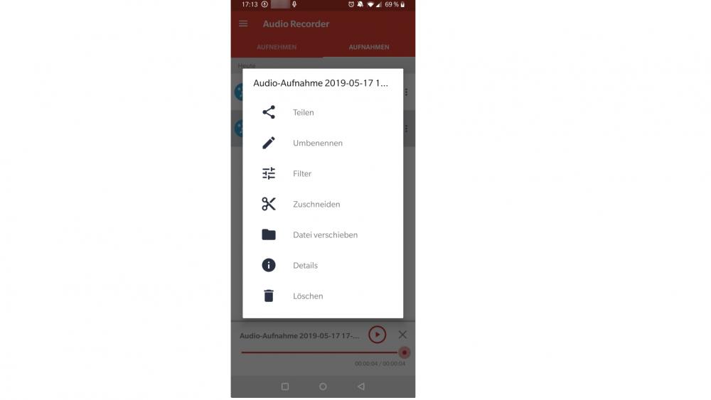 Android Sprachnotiz teilen