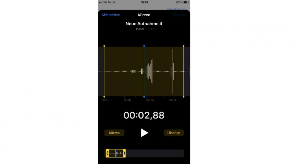 Sprachmemos schneiden und bearbeiten auf dem iPhone
