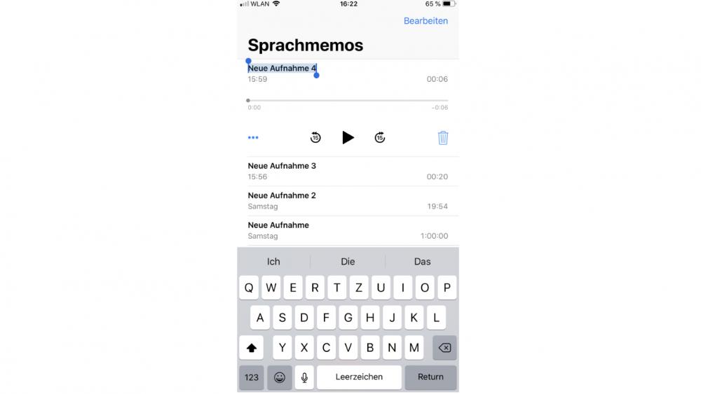 Sprachmemos umbenennen auf dem iPhone