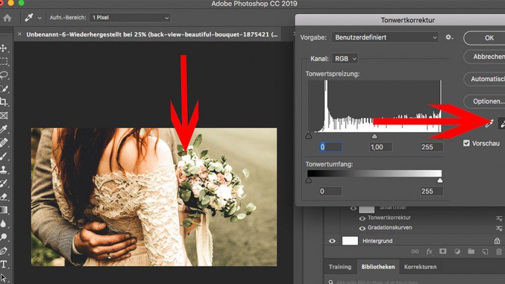 Photoshop: Weißabgleich mit Pipette